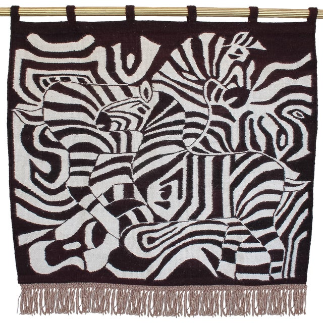 Large African Mohair Zebra Wall Hanging - Image 1 of 11