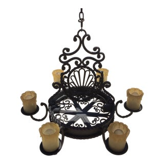 Old World/Rustic Wrought Iron Six Light Chandelier