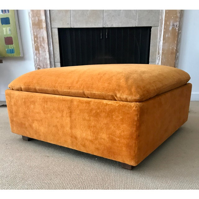 Vintage Mid-Century Orange Velvet Ottomans - A Pair - Image 5 of 10