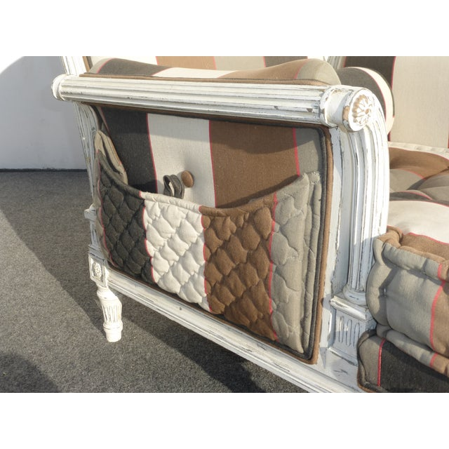 French Provincial Striped Upholstery Arm Chair - Image 9 of 11