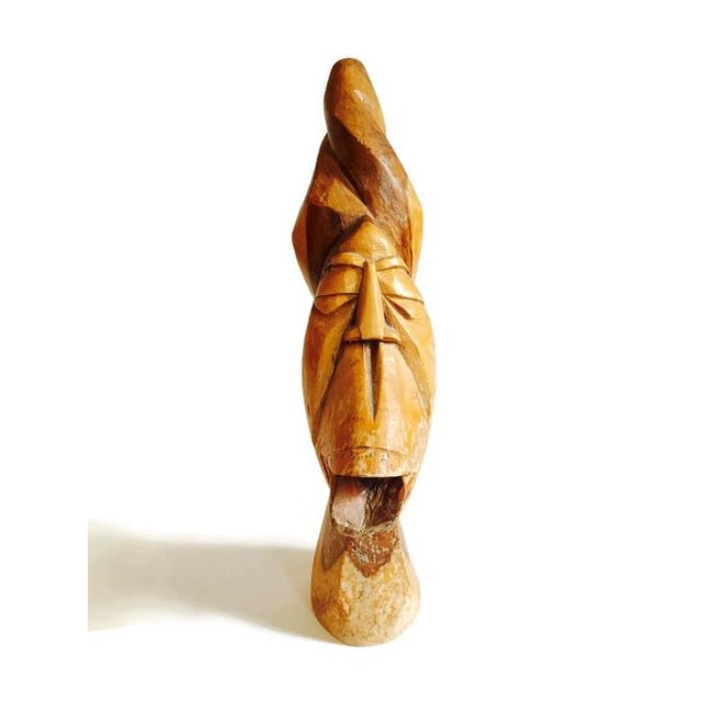 Mid Century Solid Wood Carved African Head Statue - Image 6 of 7