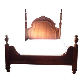 French Provincial Carved Mahogany Queen Bed Frame