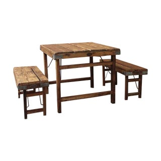 Vintage Addiction Small Wood Farmhouse Dining Set