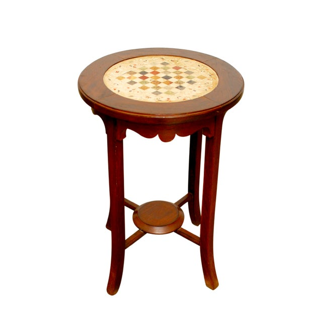 Rosewood Marble Game Table - Image 1 of 5