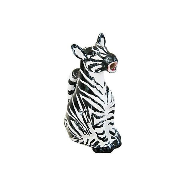 Image of Vintage Hand Painted Italian Ceramic Zebra Pitcher