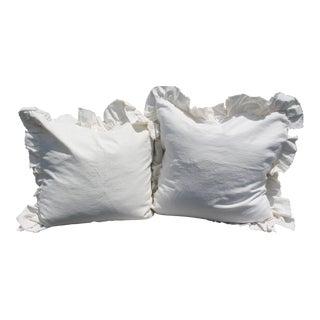 White Ruffled Pair of Europeon Pillows