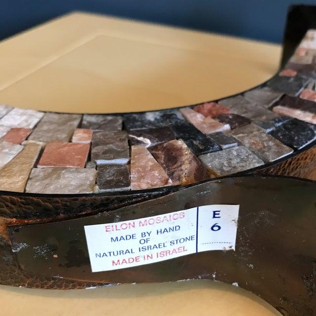 Image of Stone & Copper Mosaic Shabbat Candlesticks - A Pair
