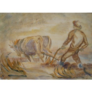 Vintage 1940s Farmer in Field Watercolor Painting