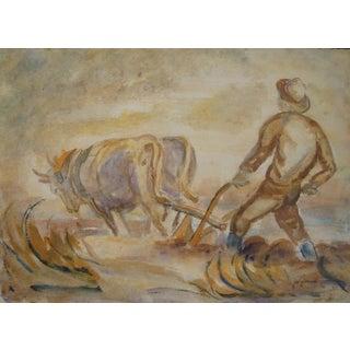 WPA  Farmer in Field Watercolor