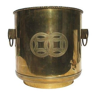 Large Mid-Century Brass Handled Ice Bucket
