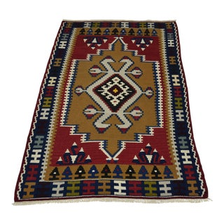 Turkish Geometric Hand Woven Kilim Rug - 2′7″ × 4′3″