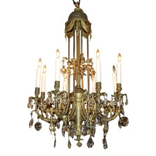 Fine Bronze & Crystal Chandelier
