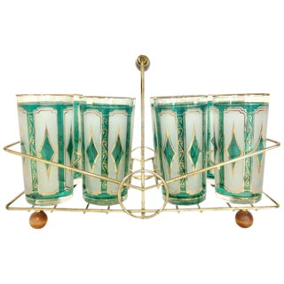 1950s Emerald Frosted 22-Karat High Ball Glasses and Caddie - Set of 9