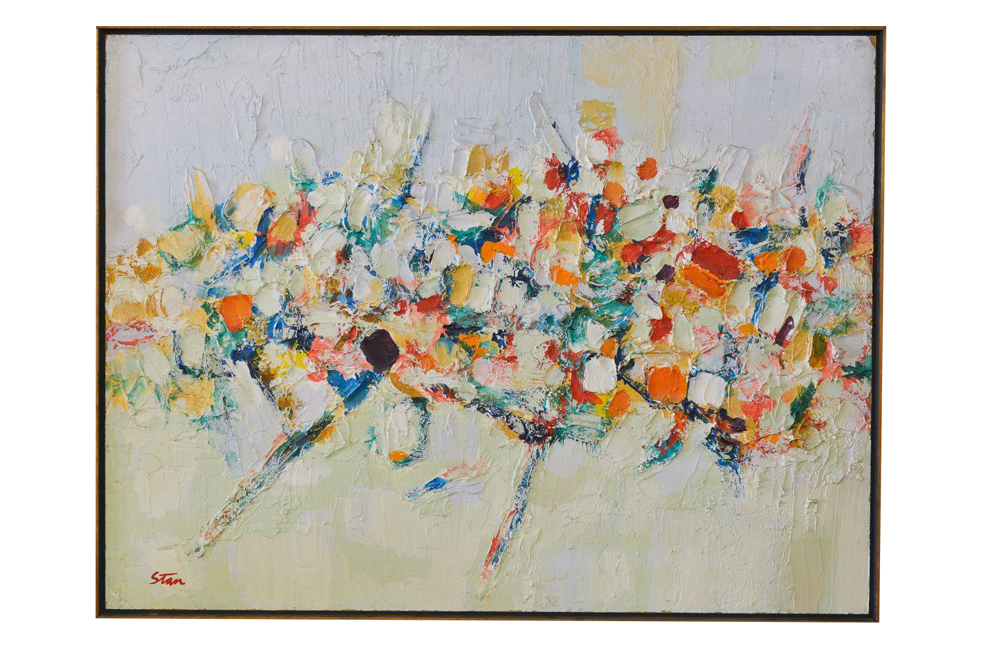 Image of Mid-Century Original Abstract on Masonite