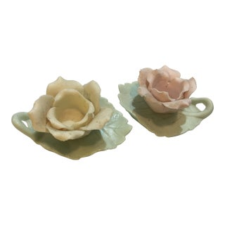 Small Porcelain Roses Candlesticks - a Pair