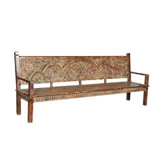 Floral Carved Wood Bench