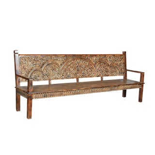 Floral Carved Wood Bench