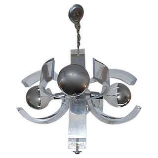 Mid-Century Lucite And Chrome Chandelier