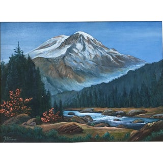 Vintage Oil Painting, Dark Blue Wilderness