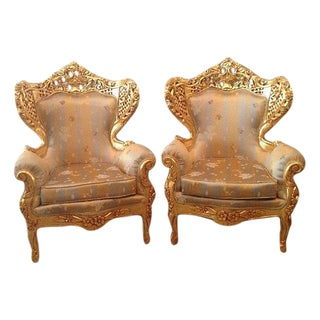 Antique Rococo Italian Style Chairs - A Pair