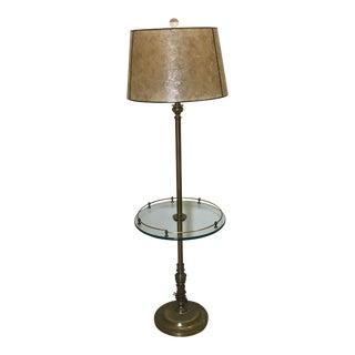 Antique Transitional Palladian Bronze Glass Tray Metal Floor Lamp