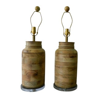 Wooden Canister Lamps - Pair