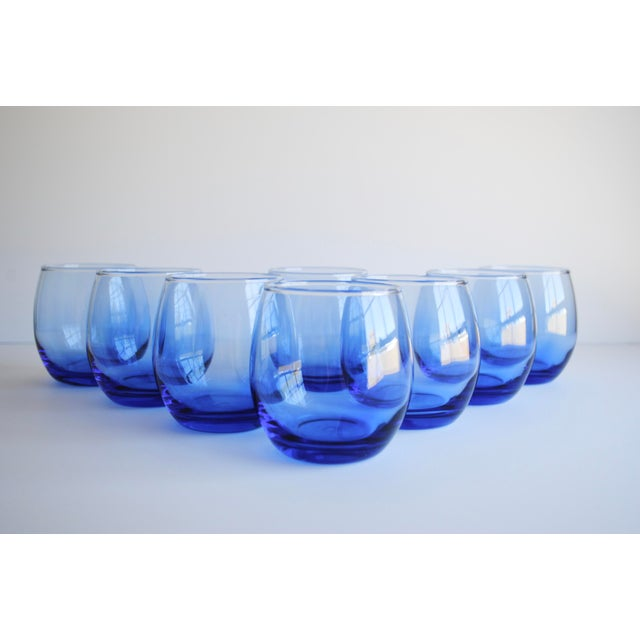 Blue Roly Poly Glasses, Set of 8 - Image 2 of 5