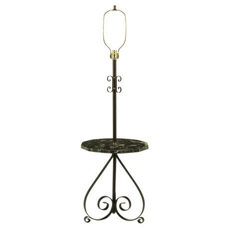 Black Dodecagon Marble & Iron Moorish Floor Lamp - Image 1 of 6