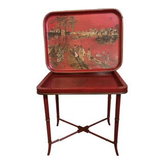 19th Century Japanese Red Papier-Mâché Tray on Table Base