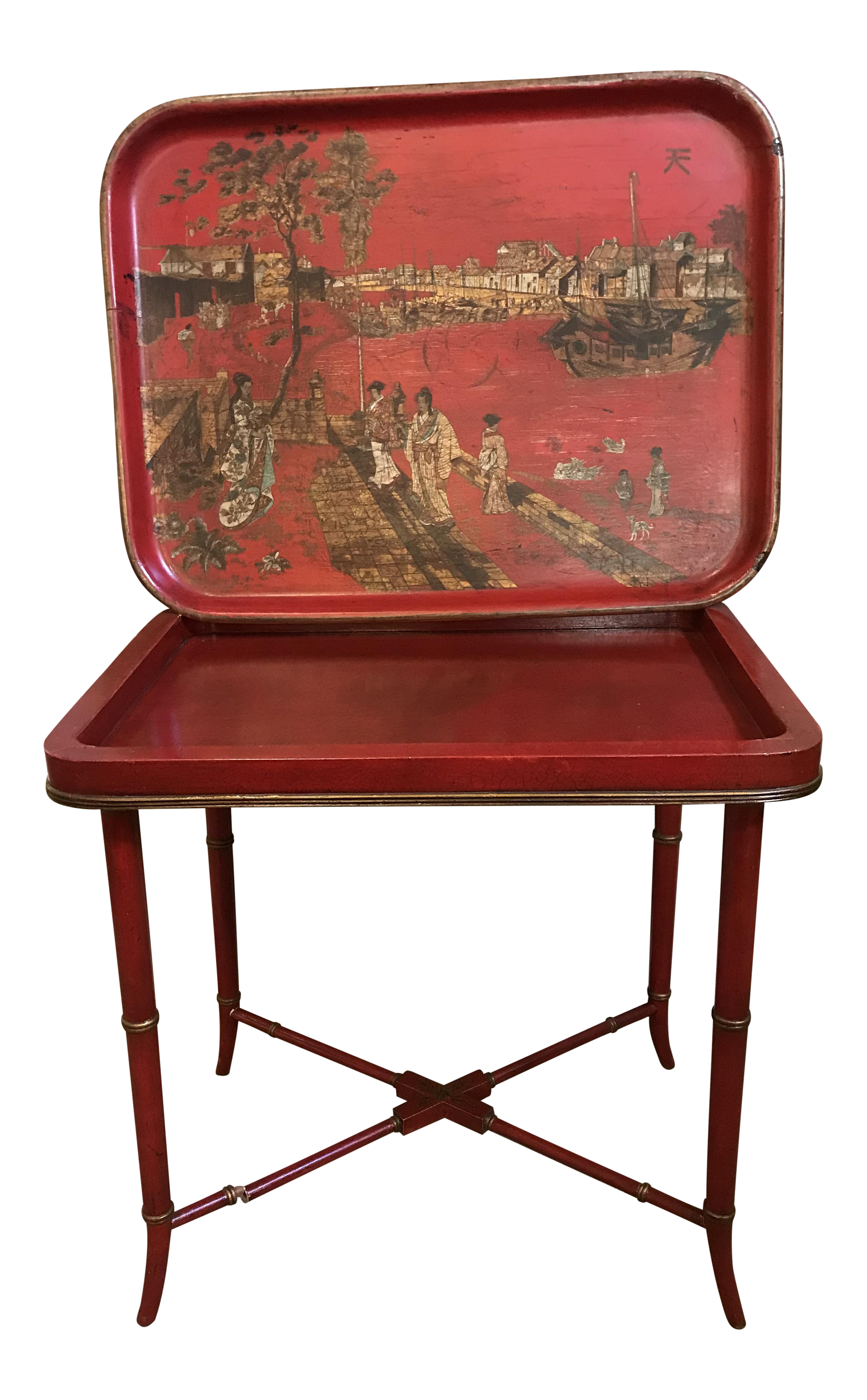 19th Century Japanese Red Papier Mâché Tray On Table Base