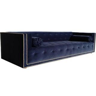 Navy Velvet Senda Sofa and Two Bolster Pillows