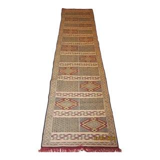 Moroccan Wool Kilim/ Zemmour Runner Rug
