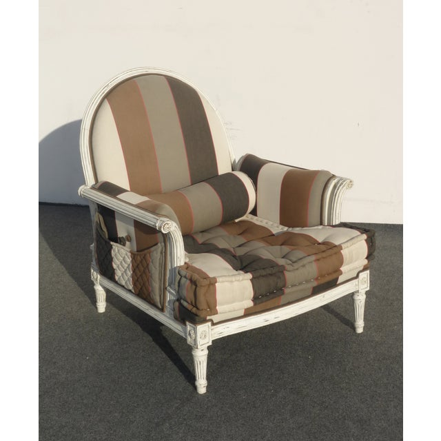 Image of French Provincial Striped Upholstery Arm Chair