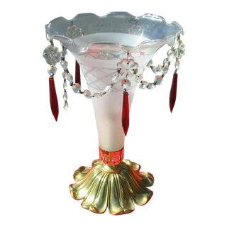 Vintage Mid-Century Italian Crystal Glass Cone Lamp