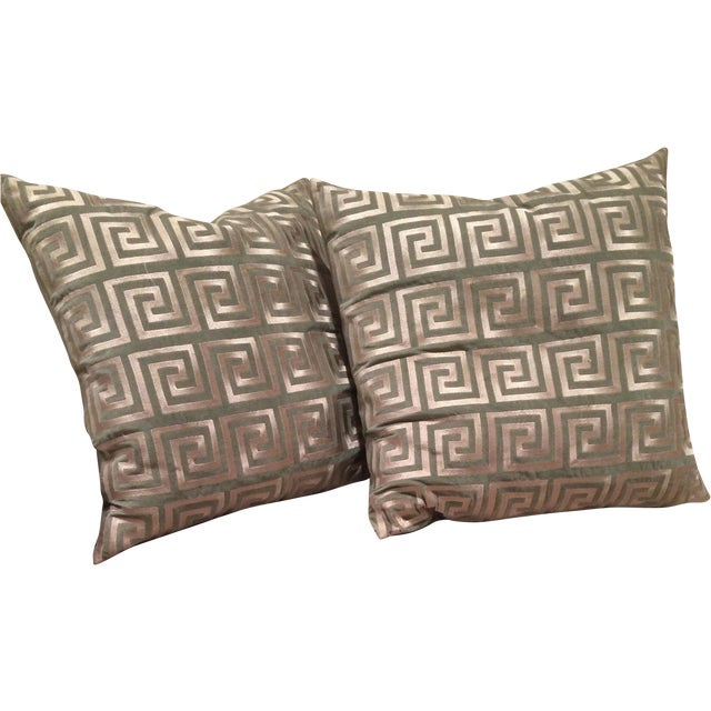 Greek Key Pillows - A Pair - Image 1 of 5
