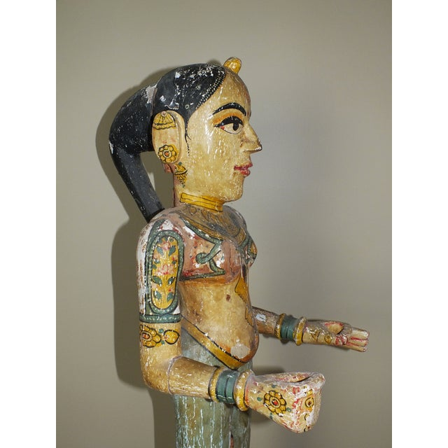 """41"""" Tall Antique Asian Indian Carved Wood Statue - Image 3 of 11"""