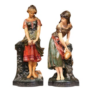 19th Century French Hand Painted Terra Cotta Statues - A Pair