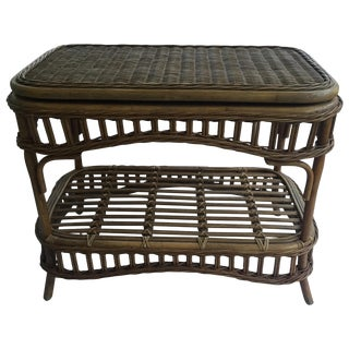 Vintage Wicker Swivel Top Coffee Table