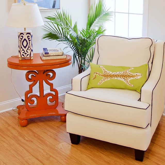 Image of White Club Chair With Navy Piping
