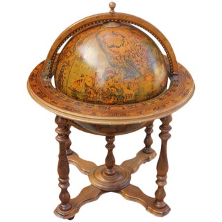 French Mid-Century Mahogany World Globe Bar, C.1950's