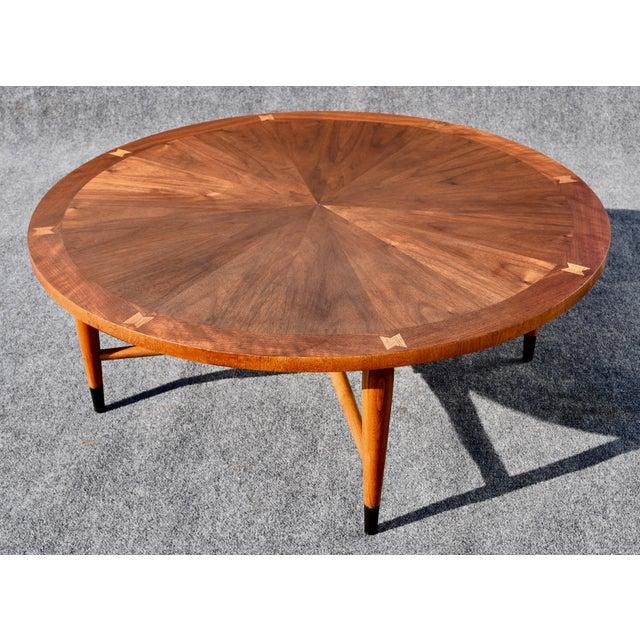 Lane Blonde Coffee Table: Vintage Lane Mid-Century Modern Round Walnut Coffee Table
