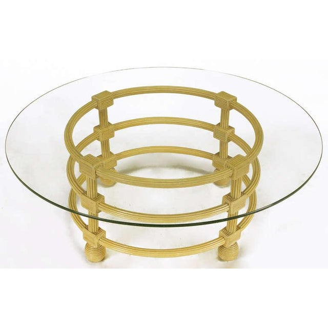 Image of Jay Spectre Round Reeded Wood Coffee Table