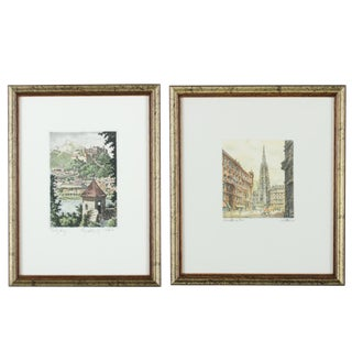 """""""Salzburg"""" and """"St. Stephen's Cathedral"""" Austrian Etchings- Set of 2"""
