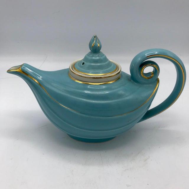 1950s Hall Tiffany Blue & Gold Aladdin's Lamp Teapot - Image 3 of 10