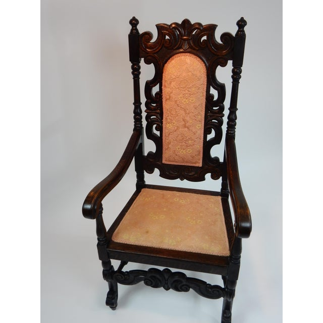 Antique Intricately Carved Oak Throne Chair - Image 7 of 10