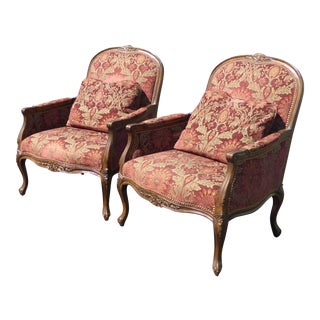 Oversized French Provincial Burgundy Floral Design Accent Chairs - a Pair