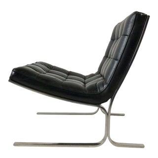 Nicos Zographos Black Leather Lounge Chair