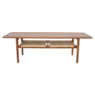 Hans Wegner AT-10 Coffee Table with Cane Shelf