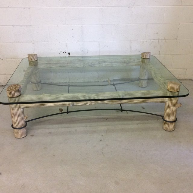Faux Bois Iron & Glass Coffee Table - Image 2 of 6