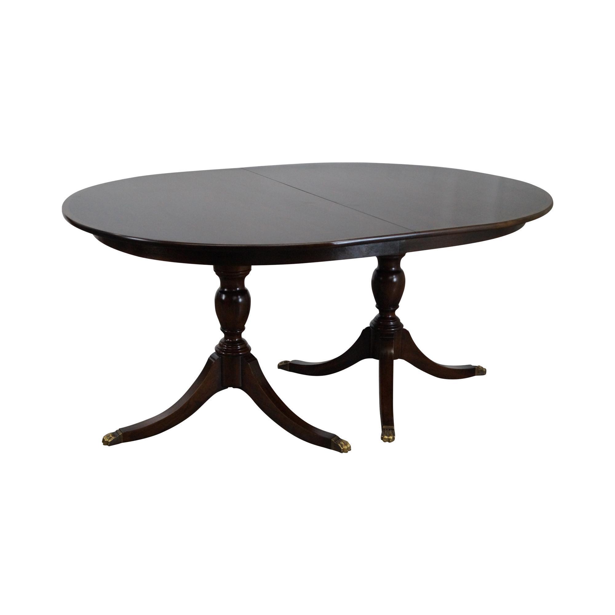 Henkel Harris Solid Mahogany Duncan Phyfe Dining Table U0026 4 Leaves